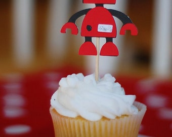Dozen CUPCAKE TOPPERS - Sparkly Red Robot - Choose Your Colors