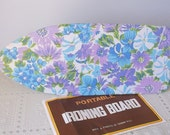 Mod Blue Floral 1970s Small Portable Iron Board, Flower Power Display Board, Flea market Craft Vender display,Spring Flowers,