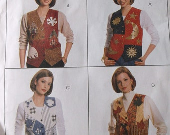 Mccalls 7804 Misses Lined Vest and Appliques Pattern Plus Size 20-22