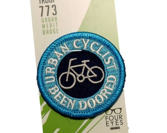 Urban Cyclist, Been Doored - Modern Merit Badge - Iron On Patch