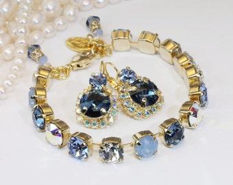 Navy Blue Bracelet Gold Navy 8mm Swarovski Crystal Set Something Blue Denim Light Blue Navy Blue Wedding Tennis Bracelet Gold finish,GB1