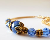 Royal Blue Bridesmaid Jewelry, Beaded Sapphire Blue Crystal Bracelet in Antiqued Gold, Cobalt Weddings, Matching Sets for Bridesmaids