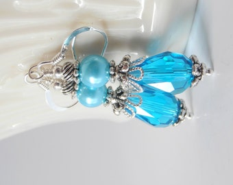 Bridesmaid Earrings, Crystal Teardrop Dangles with Pearl, Bright Blue Wedding Jewelry, Malibu Bridesmaid Sets, Beaded Earings, Vintage Style