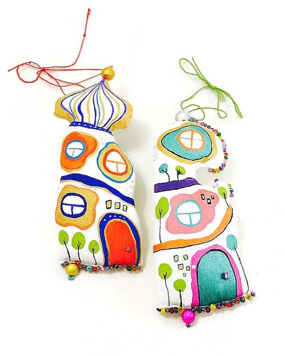 Ornament Hundertwasser House set of 2 ornaments wall hanging art, hand painted, ooak gift