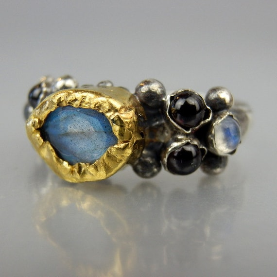 labradorite ring unique engagement ring 24k solid gold