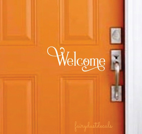 Welcome decal entryway sticker front door greeting vinyl for Door vinyl design