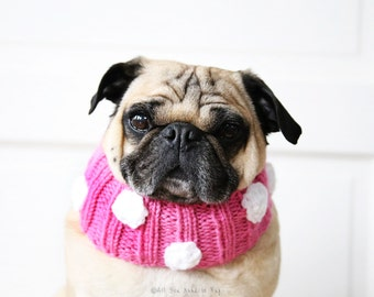 Polka-dot Knit Dog Collar - Dog Neck Warmer - Dog Scarf - Pug Clothing - Dog Clothing - Pet Apparel