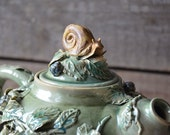 A snail on the Teapot - MADE TO ORDER -  Stoneware teapot with snail and blackberry in green