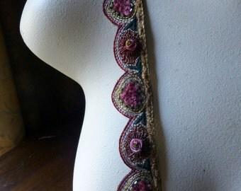 "Beaded Trim 8""  Exquisite no 1  for Headpieces, Handbags, Belly Dance Costumes, Jewelry Design, Home Decor."