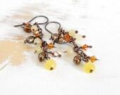 Aragonite Earrings, Copper Earrings, Cascade Earrings, Yellow Jewellery, Artisan Jewellery, Earrings Handmade, Boho Earrings, Pearl Jewelry
