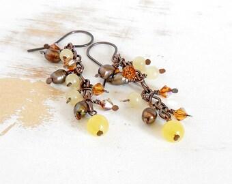 Cluster Pearl Earrings, Handmade Copper Jewellery, Pearl and Crystal Earrings, Brown Earrings, Yellow Earrings