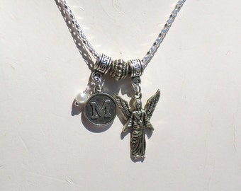 Personalized Birthday Angel Silver Pendant Necklace