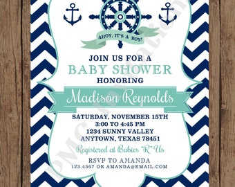 Custom Printed Navy And Mint Chevron Nautical Baby Shower Invitations    1.00 Each With Envelope