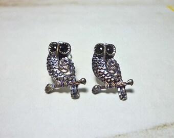 SALE - Owl on a Branch Stud Earrings