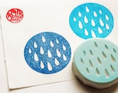 rain drop stamp. circle hand carved rubber stamp. clay stamp. birthday scrapbooking. block printing. gift wrapping. by talktothesun