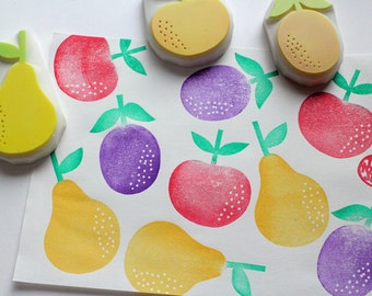 fruits rubber stamp. apple, prune, pear stamp. woodland hand carved rubber stamps. birthday scrapbooking. card making. holiday crafts