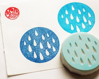 rain drop stamp. circle hand carved rubber stamp. clay stamp. birthday scrapbooking. gift wrapping. by talktothesun
