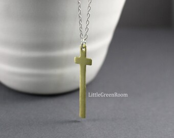 Cross Necklace, Brass Cross Necklace, Faith Necklace, Confirmation Necklace, Believe Necklace, Sterling Silver Necklace