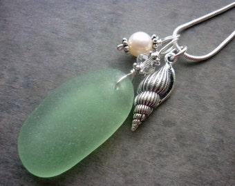 Beach Sea Glass Necklace Shell Sea Shell Beach Jewelry Sterling Pendant