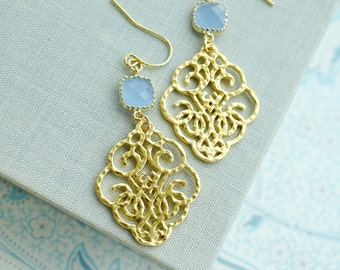Gold Textured Filigree Long Earrings. Cornflower Blue Filigree, Soft Light Blue Gold Glass Dangle Earring. Something Blue, Bridesmaid Gifts