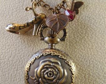 Vintage Rose Pocket Watch Necklace