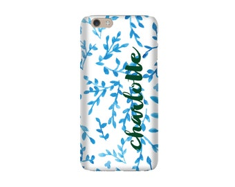 Monogrammed iPhone 6s / iPhone 6 Case - Blue & White Vines