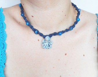 Nautical Octopus Pendant Choker Necklace on Navy Blue Cotton Spiral Macrame Chain, ready to ship.
