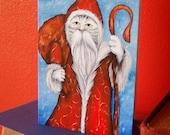 Christmas Card, Santa Cat, St Nicholas Cat Art 5x7 Blank Greeting Card