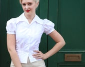 1940's Style White Blouse