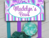 HAIR BOW HOLDER - Personalized Purple and Turquoise Paisley HairBow Holder - Bows Clip Organizer - Girls Hair Bow and Clip Hanger Hb0107