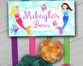 HAIR BOW HOLDER - Personalized Mermaid Under the Sea HairBow Holder - Bows Clippies Organizer - Girls Personal Hair Bow Clip Hanger Hb0010