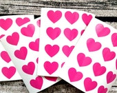 48 Pink heart stickers, Pink heart mini decals, Pink heart envelope seals, for packaging, gift wrapping or wedding invitations