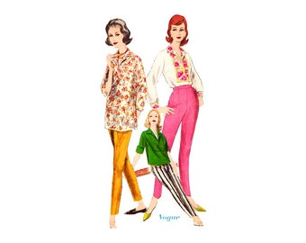1960s Sewing Pattern Vogue 9990, Womens Blouse & Tapered Pants, French Cuff Shirt with Sleeve Variations, Uncut, Vintage Patterns