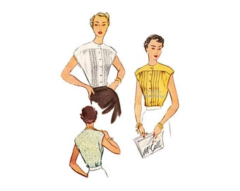 Vintage 1950s Blouse Pattern McCall 8013, Cap Sleeves, Pin Tucks, Button Front Day Evening Blouses for Women, Bust 32