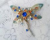 vintage dragonfly brooch pin, enamel and rhinestones, vintage jewelry