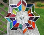Multicolored Geometric Stained Glass Suncatcher with Glass Crystal Prism