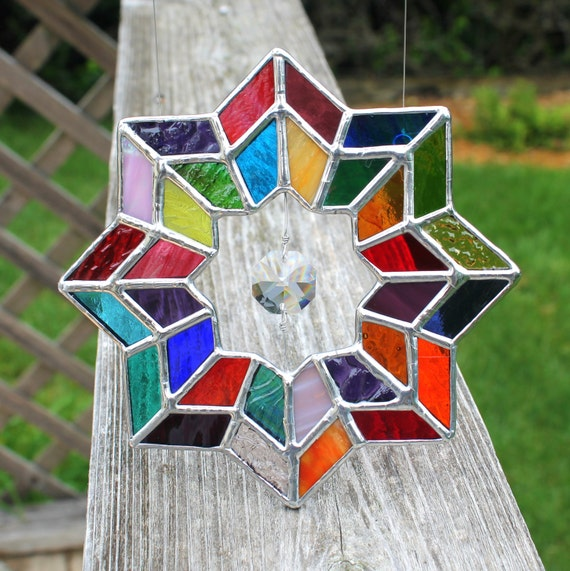 Multicolored Geometric Stained Glass Suncatcher With Glass