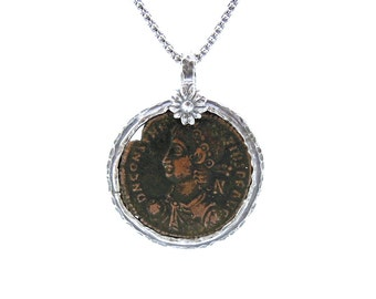 Authentic ancient late roman coin set in 925 sterling silver pendant