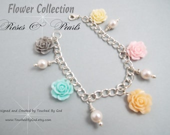 Charm Bracelet · Rose Cabochon Flowers Charms · Ivory Glass Pearl Charms · Gift For Her