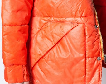 The Vintage Neon Orange Quilted Jacket