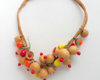 Glass Fruit Wooden Bells Necklace.  Likely Miriam Haskell.