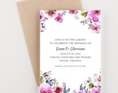 Watercolor Floral Save The Date, Bridal Shower, Wedding Invitation