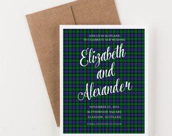 Black Watch Tartan Save The Date, Scottish and Irish Wedding, Blue and Green, Wedding Announcement