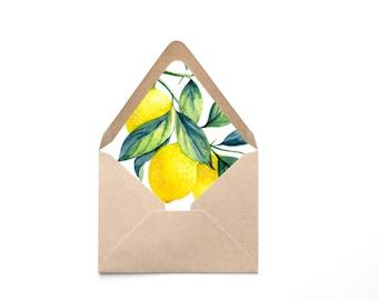 Envelope Liner Template, Lemon Botanical Illustration Liner, Multiple Sizes, Instant Download