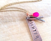 Breast Cancer Fighter Necklace Copper Necklace Fighter Necklace in Copper Hand Stamped Jewelry Cancer Awareness Copper Jewelry Pink Stone