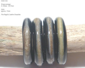 RINGS 49 Lampwork Ring Beads Handmade - Black Silvered Ivory   - Unusual fits Regaliz Set of 4
