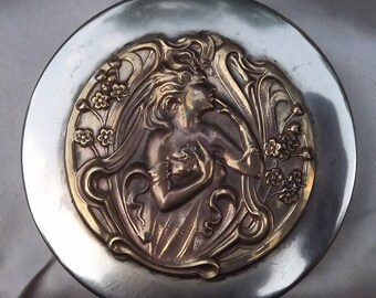 Vintage Silver Plated Art Deco Bronze Cast / Mold Compact Case