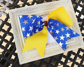 """Big 3"""" Made 2 Match Wonder Woman Colors Blue, Red and Yellow Stars Girls Cheer Bow Softball Bow Ponytail Holder"""