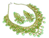 RESERVED for Kathy H WOW Peridot Rhinestone Statement Necklace, Earrings Peridot Green Glass Stones Fringe Bib Necklace Jewery Set