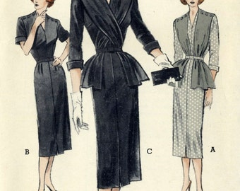 Vintage 50s Butterick 5633 UNCUT Misses  Sheath Dress with Button-On Scarf   Sewing Pattern Size 18 Bust 36